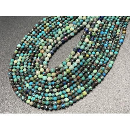Каменные бусины, Хризоколла, шарик огранка, 4 мм, длина нити 38 см арт. 15730
