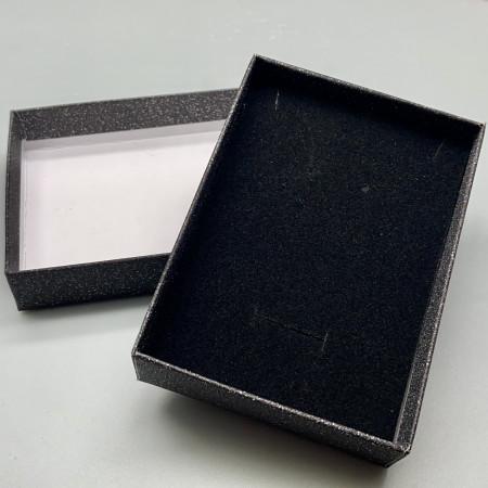 Подарочная коробочка, с подложкой, картонная, чёрная, блестящая, размер 110х80х25 мм
