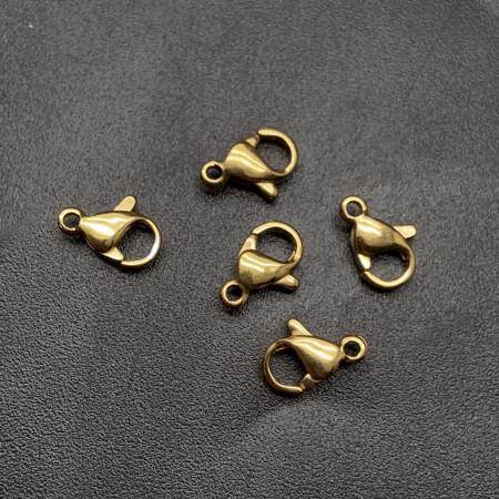 Карабин №1, родий/латунь, под золото, 10х6 мм, цена за шт
