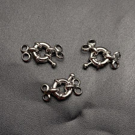 Карабин №18, замочек на многорядное украшение, родий/латунь, под серебро, 9,5 мм, цена за шт