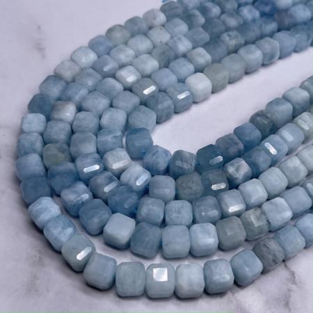 Каменные бусины, Аквамарин, Голубой Берилл, люкс, кубик, зеркальная огранка, 9х9 мм, длина нити 19 см
