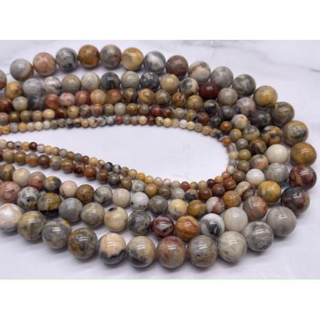 Каменные бусины, Агат кружевной, (Crazy Agate), шарик гладкий, 4 мм, длина нити 38 см