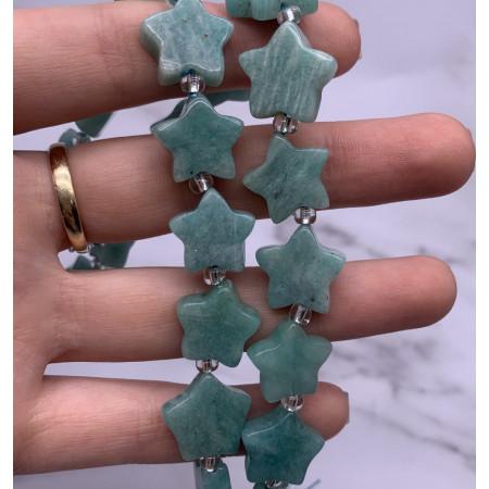 Каменные бусины, Амазонит звездочки, 16 мм, длина нити 38 см, на нити 21 шт.