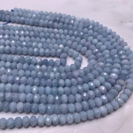 Каменные бусины, Аквамарин, Голубой берилл, рондель огранка, 4х6 мм, длина нити 38 см