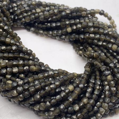 Каменные бусины, Золотой Обсидиан, кубик, ювелирная огранка, 2х2 мм, длина нити 38 см
