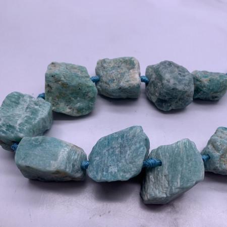 Каменные бусины, Амазонит, не обработанный, 20-28 мм, длина нити 19 см, 7 шт