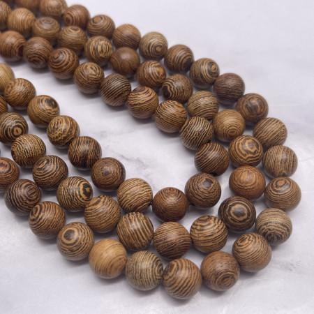 Деревянные бусины, коричневый с полосками, шарик, 10 мм, длина нити 38 см