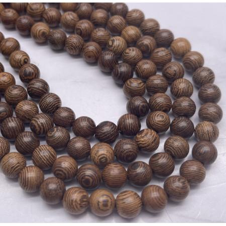 Деревянные бусины, тёмно-коричневый, шарик, 8 мм, длина нити 38 см