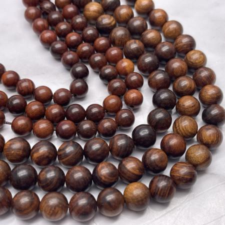 Деревянные бусины, каштановый, шарик, 10 мм, длина нити 38 см