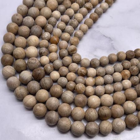 Деревянные бусины, песочный, шарик, 10 мм, длина нити 38 см