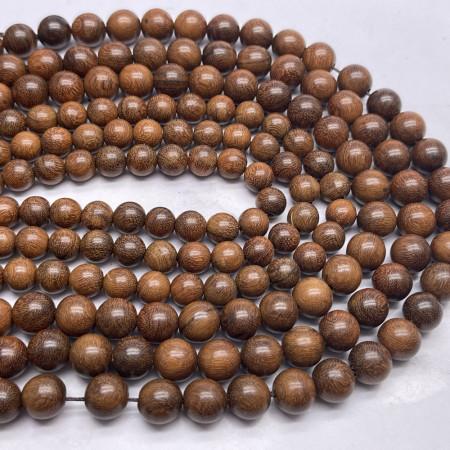 Деревянные бусины, коричневый, шарик, 10 мм, длина нити 38 см