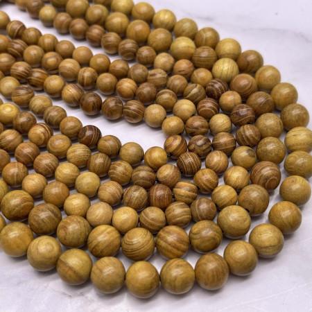 Деревянные бусины, горчичный, шарик, 10 мм, длина нити 38 см