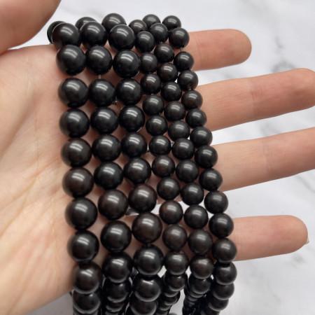 Деревянные бусины, под венге, шарик, 10 мм, длина нити 38 см