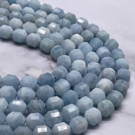 Каменные бусины, Аквамарин, Голубой Берилл, ювелирная огранка 10х9 мм, длина нити 19 см