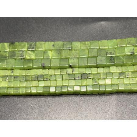 Каменные бусины, Канадский Нефрит, кубик, 4х4 мм, длина нити 38 см