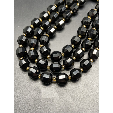 Каменные бусины, Агат, чёрный, ювелирная огранка, 10х9 мм, длина нити 38 см