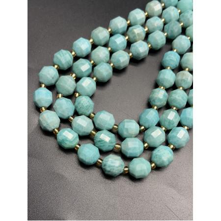 Каменные бусины, Амазонит, ювелирная огранка 10х8,5 мм, длина нити 38 см
