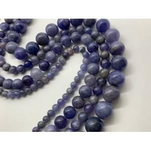 Каменные бусины, Танзанит премиального качества (люкс), 62 бусины, шарик гладкий 6 мм, нить 40 см