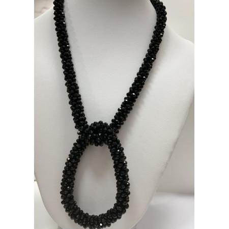 Колье .Кристаллы Black,с замком (магнитный ) ,45 см . 10 мм ,браслет (на резинке)10 мм, в огранке