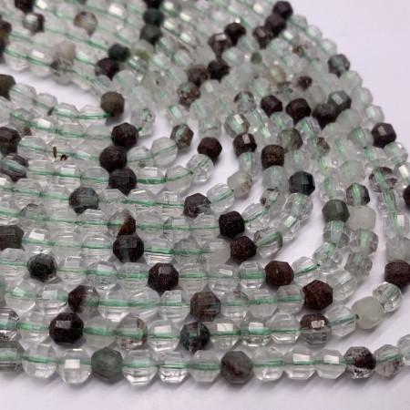 Каменные бусины, Кварцевый микс, ювелирная огранка 4х5 мм, длина нити 38 см