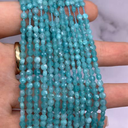 Каменные бусины, Амазонит, монетка, огранка, 4х2,5 мм, длина нити 38 см