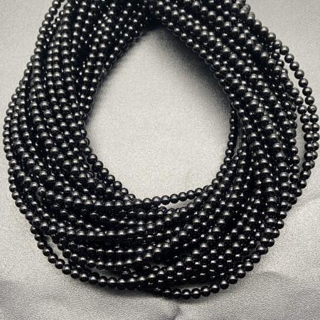 Каменные бусины, Агат, чёрный, тонированный, шарик гладкий, 3 мм, длина нити 38 см