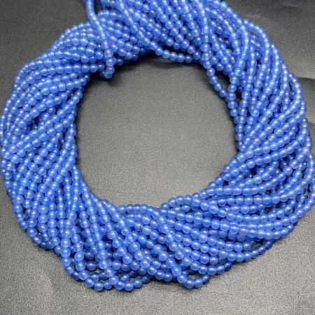 Каменные бусины, агат голубой, тонированный, шарик гладкий, 3 мм, длина нити 38 см