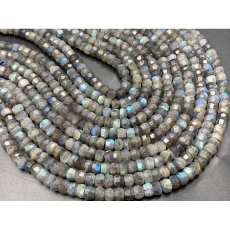 Каменные бусины, Лабрадор, люкс, рондель, огранка, 8.7х6 мм, длина нити 38 см