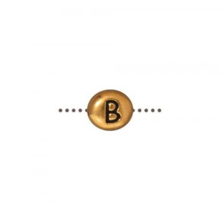 Бусина металлическая, двусторонняя с буквой английского алфавита B, позолоченная с чернением, 6мм