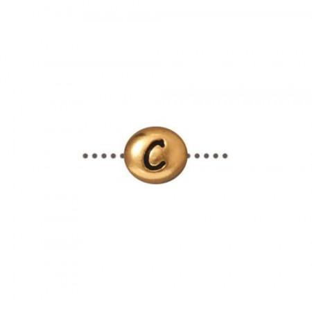 Бусина металлическая, двусторонняя с буквой английского алфавита C, позолоченная с чернением, 6мм