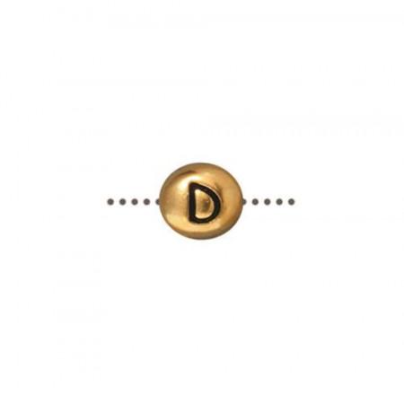Бусина металлическая, двусторонняя с буквой английского алфавита D, позолоченная с чернением, 6мм
