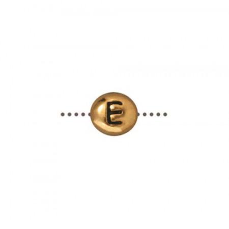 Бусина металлическая, двусторонняя с буквой английского алфавита E, позолоченная с чернением, 6мм
