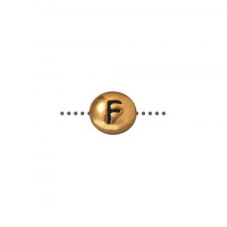 Бусина металлическая, двусторонняя с буквой английского алфавита F, позолоченная с чернением, 6мм