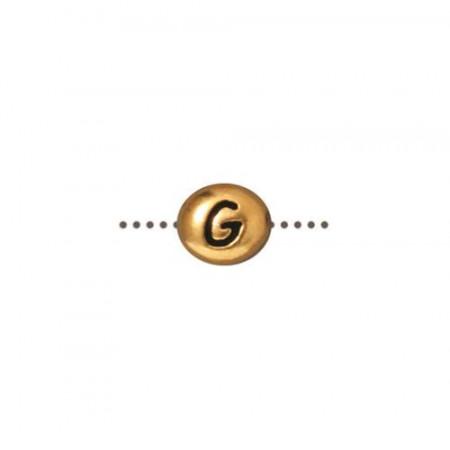 Бусина металлическая, двусторонняя с буквой английского алфавита G, позолоченная с чернением, 6мм