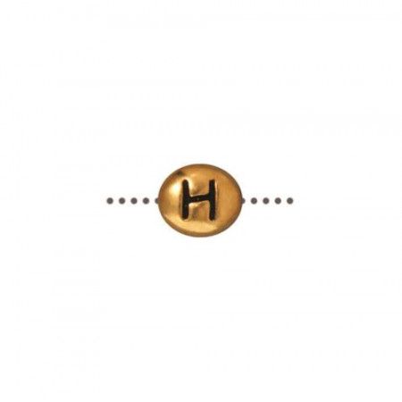 Бусина металлическая, двусторонняя с буквой английского алфавита H, позолоченная с чернением, 6мм