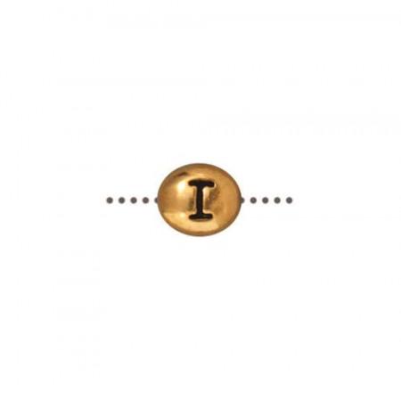 Бусина металлическая, двусторонняя с буквой английского алфавита I, позолоченная с чернением, 6мм