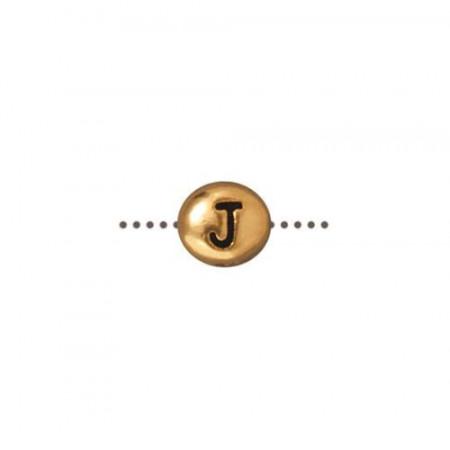 Бусина металлическая, двусторонняя с буквой английского алфавита J, позолоченная с чернением, 6мм