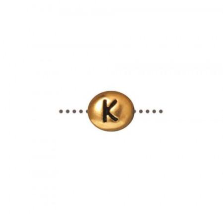 Бусина металлическая, двусторонняя с буквой английского алфавита K, позолоченная с чернением, 6мм