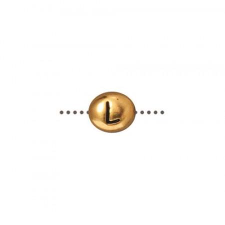 Бусина металлическая, двусторонняя с буквой английского алфавита L, позолоченная с чернением, 6мм