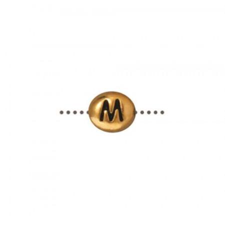 Бусина металлическая, двусторонняя с буквой английского алфавита M, позолоченная с чернением, 6мм