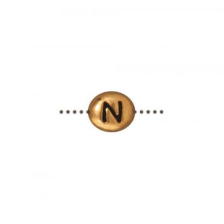 Бусина металлическая, двусторонняя с буквой английского алфавита N, позолоченная с чернением, 6мм