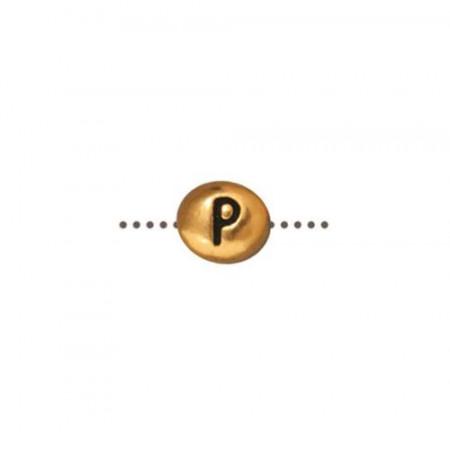 Бусина металлическая, двусторонняя с буквой английского алфавита P, позолоченная с чернением, 6мм
