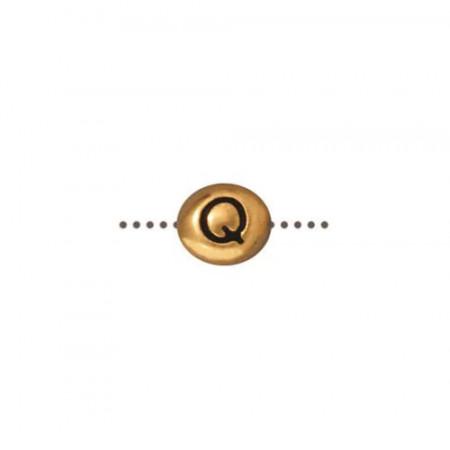 Бусина металлическая, двусторонняя с буквой английского алфавита Q, позолоченная с чернением, 6мм