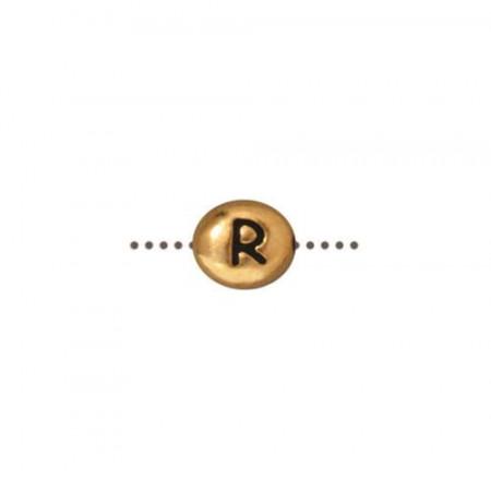 Бусина металлическая, двусторонняя с буквой английского алфавита R, позолоченная с чернением, 6мм