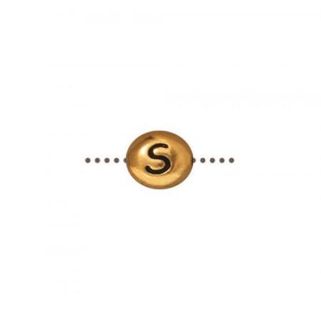 Бусина металлическая, двусторонняя с буквой английского алфавита S, позолоченная с чернением, 6мм