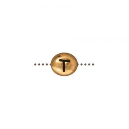 Бусина металлическая, двусторонняя с буквой английского алфавита T, позолоченная с чернением, 6мм