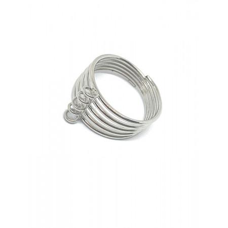Основа под кольцо, под серебро. родий/латунь, регулируемый размер, 5