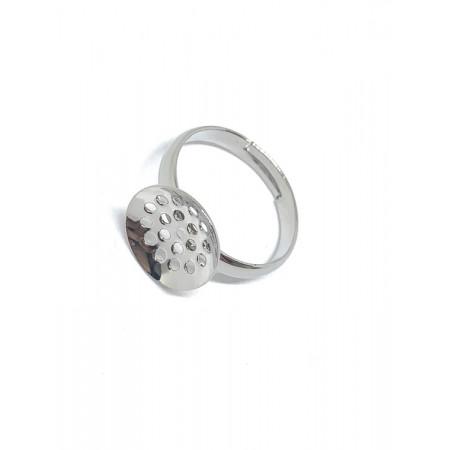 Основа под кольцо, под серебро. родий/латунь, регулируемый размер