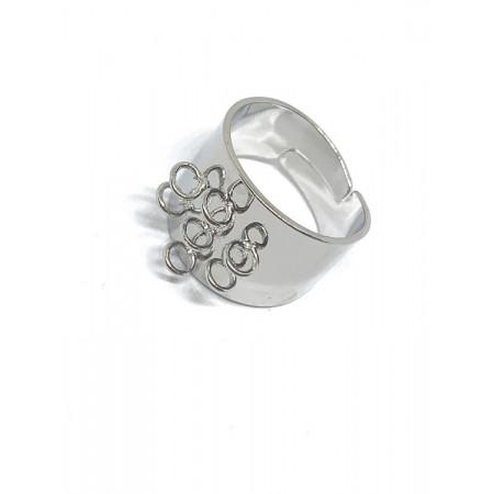 Основа под кольцо, под серебро. родий/латунь, регулируемый размер, 6