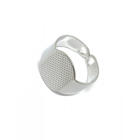 Основа под кольцо, под серебро. родий/латунь, регулируемый размер. 2